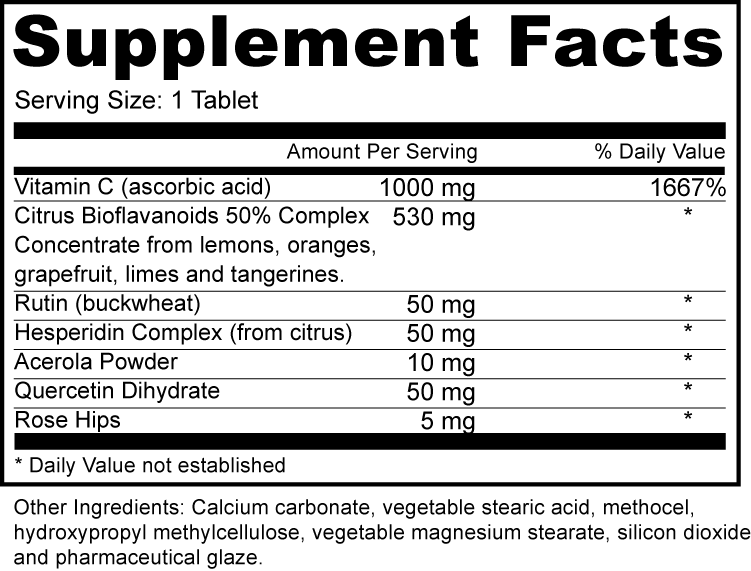 Vitamin C 1000mg Supplement Fact