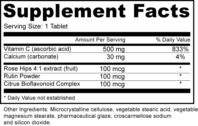 Vitamin C 500 mg with Rose Hips Supplement Fact