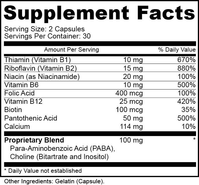 Vitamin B Complex Supplement Facts
