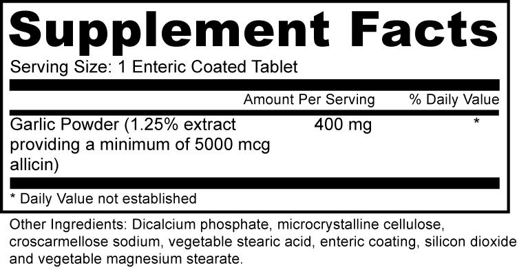 Garlic Extract Herbs Supplement Fact