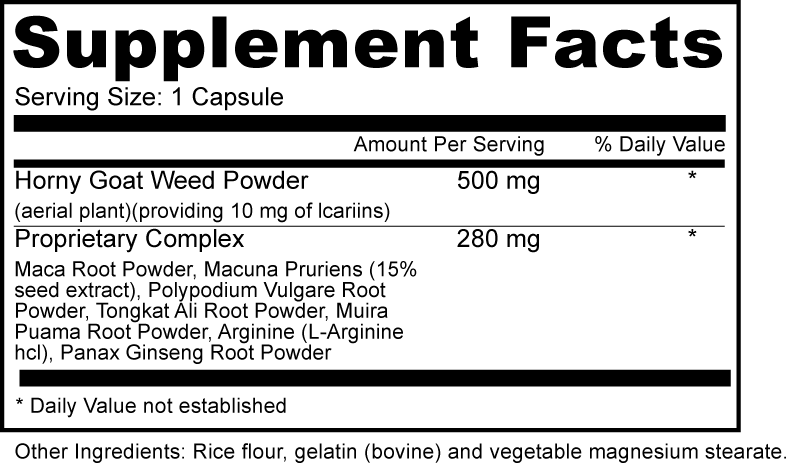 Horny Goat Weed Anti Aging Dietary Supplement Fact