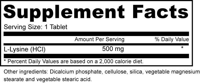 L-Lysine 500 Mg Supplement Fact